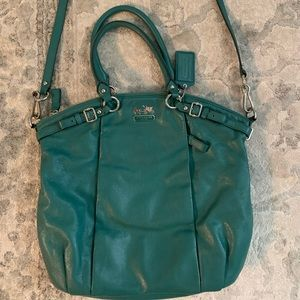 Coach Madison Lindsey Leather Satchel in Aegean